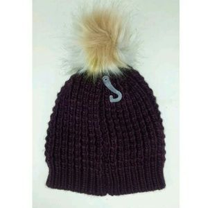 Time and Tru Accessories - Waffle Knit Beanie Hat Faux Fur Pom Pom Maroon